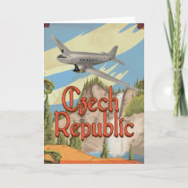 Czech Republic Vintage Travel Poster Holiday Card