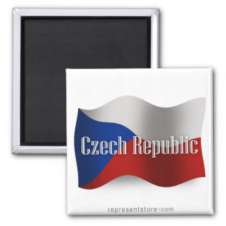 Czech Republic Waving Flag 2 Inch Square Magnet