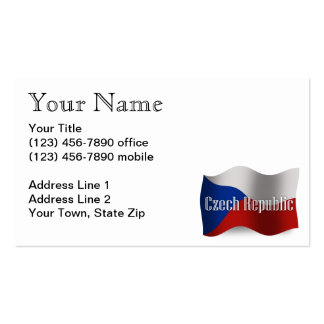 Czech Republic Waving Flag Double-Sided Standard Business Cards (Pack Of 100)