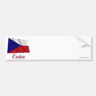Czech Republic Waving Flag with Name in Czech Bumper Sticker
