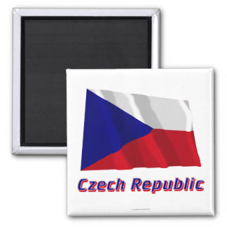 Czech Republic Waving Flag with Name Magnet