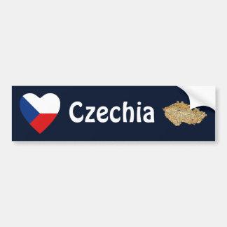 Czechia Flag Heart + Map Bumper Sticker