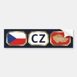 Czechia Flag Map Code Bumper Sticker