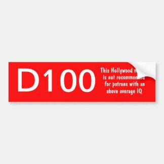 D100 movie rating bumper sticker