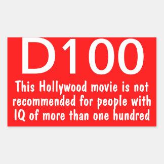 D100 warning rectangular sticker