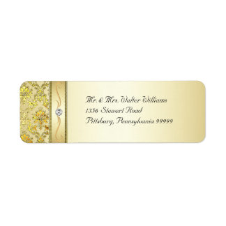 D1 Elegant Gold Damask Diamond Label