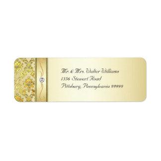 D1 Elegant Gold Damask Diamond Label Return Address Label