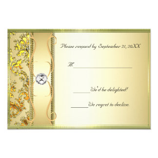 D1 Gold on Gold Damask RSVP Card Invite