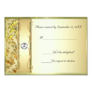 D1 Gold on Gold Damask RSVP Card Invite