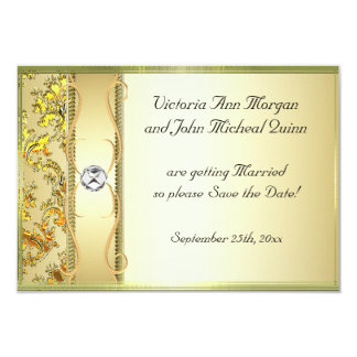 D1 Gold on Gold Damask Save the Date Card Personalized Announcements