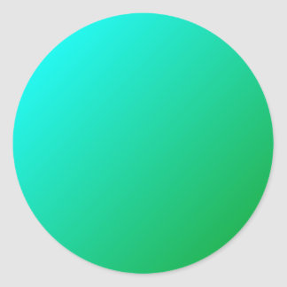 D1 Linear Gradient - Cyan to Green Classic Round Sticker