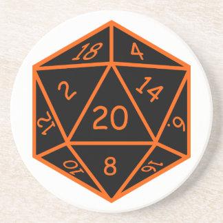 D20 Black & Orange Beverage Coaster