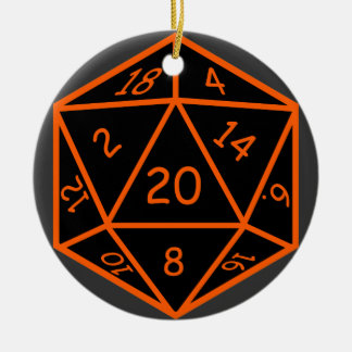 D20 Black & Orange Ceramic Ornament