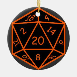 D20 Black & Orange Ceramic Ornament