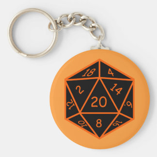 D20 Black & Orange Keychain