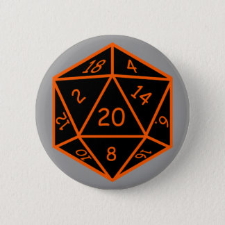 D20 Black & Orange Pinback Button