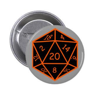 D20 Black & Orange Pinback Button