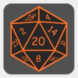 D20 Black & Orange Square Stickers
