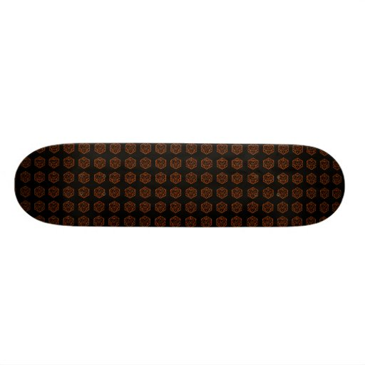 D20 Black & Orange, Tiled Skate Board Decks