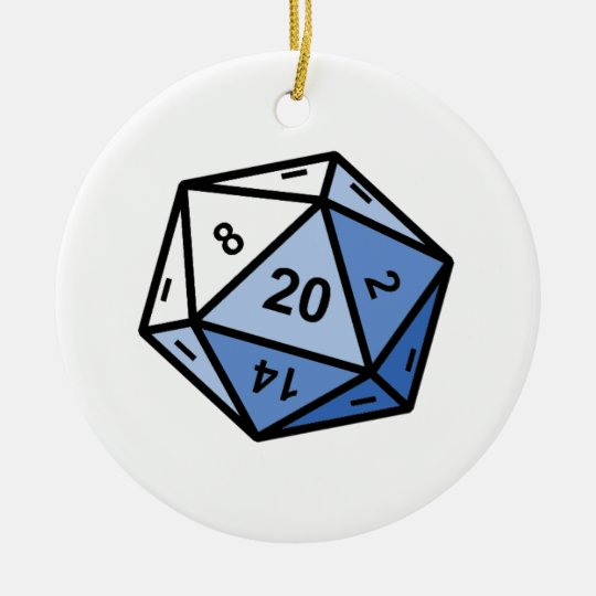 d20 ceramic ornament