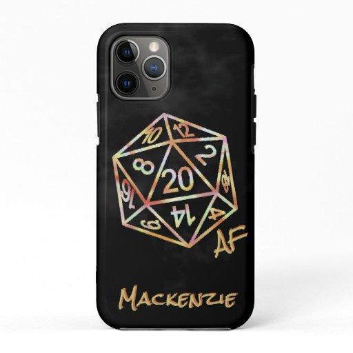 D20 Crit AF | Coral Gold Copper Green RPG Dice iPhone 11 Pro Case
