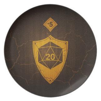 d20 Critical Save +5 Faux Leather Melamine Plate
