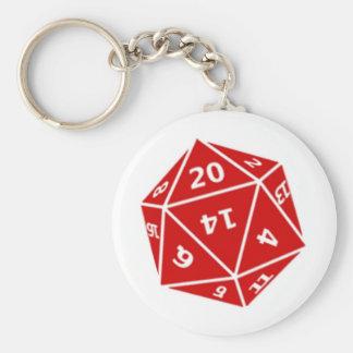 d20 die red keychains