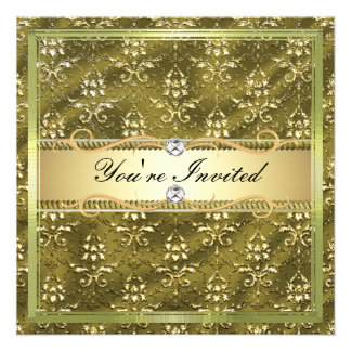 D2 Elegant Gold Damask Card Template Custom Invites