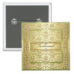 D2 Elegant Gold Damask Diamond Bridesmaid Button