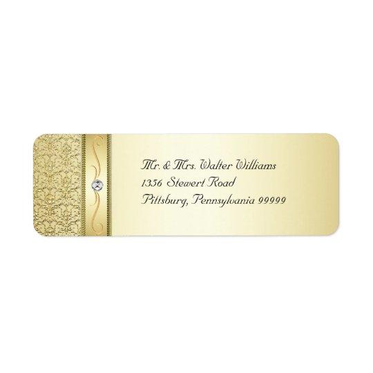 D2 Elegant Gold Damask Diamond Label