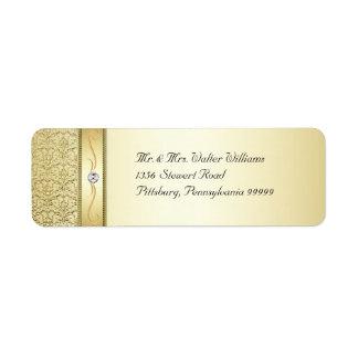 D2 Elegant Gold Damask Diamond Label Return Address Label