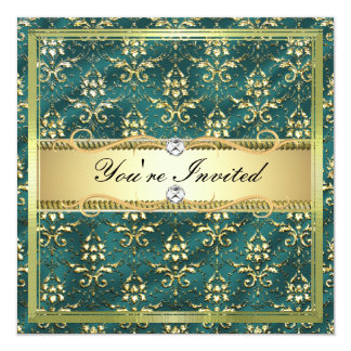 D2 Elegant Gold Teal Damask Card Template