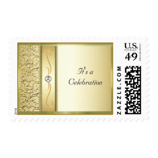 D2 Gold on Gold Damask Postage Stamp