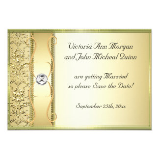 D2 Gold on Gold Damask Save the Date Card Announcements