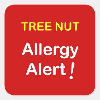 d4 - Alarma de la alergia - NUECES del ÁRBOL Calcomania Cuadradas Personalizada