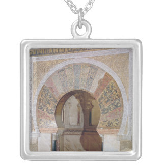 d4:Mezquita: Entrance to the Mihrab, c.786 Silver Plated Necklace