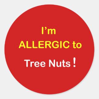 d5 - Soy alérgico - las NUECES del ÁRBOL Pegatina Redonda