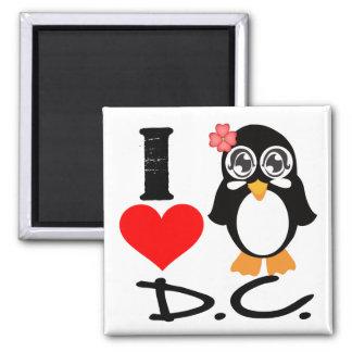 D.C. Penguin - I Love D.C. 2 Inch Square Magnet