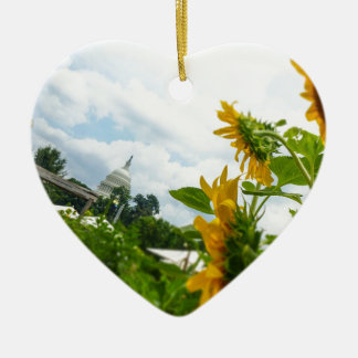 D.C. Sunflowers Double-Sided Heart Ceramic Christmas Ornament