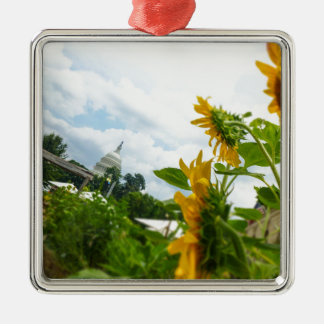 D.C. Sunflowers Square Metal Christmas Ornament