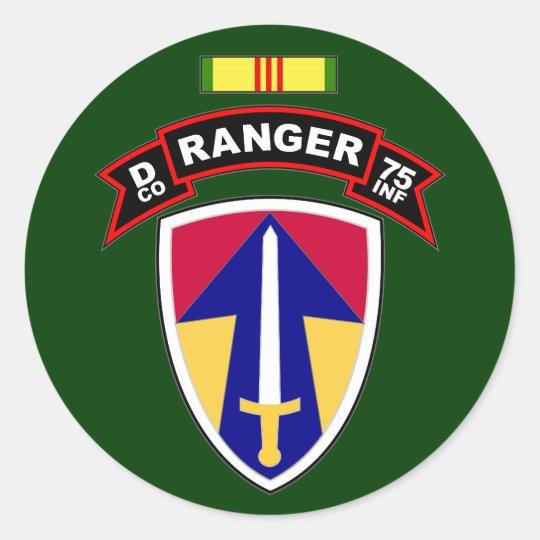 D Co, 75th Infantry Regiment - Rangers, Vietnam Classic Round Sticker