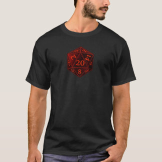 D&D d20 Black and Red CHAOS die T-Shirt