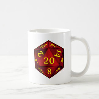 D&D d20 Crimson and Gold FIRE die Classic White Coffee Mug