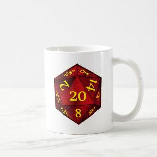 D&D d20 Crimson and Gold FIRE die Classic White Coffee Mug