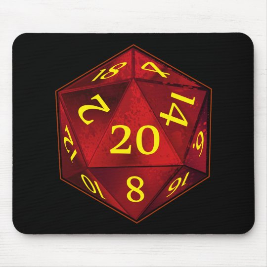 D&D d20 Crimson and Gold FIRE die Mouse Pad