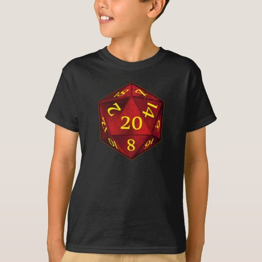 D&D d20 Crimson and Gold FIRE die T-Shirt