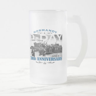 D-Day 70th Anniversary Battle of Normandy Frosted Glass Beer Mug