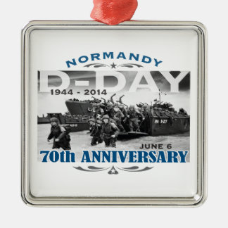 D-Day 70th Anniversary Battle of Normandy Square Metal Christmas Ornament