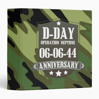 D-Day Anniversary Badge With camouflage 3 Ring Binder