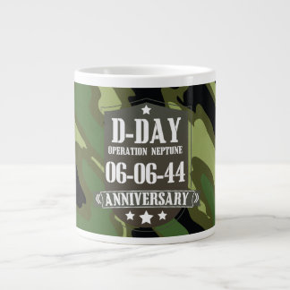 D-Day Anniversary Badge With camouflage Giant Coffee Mug